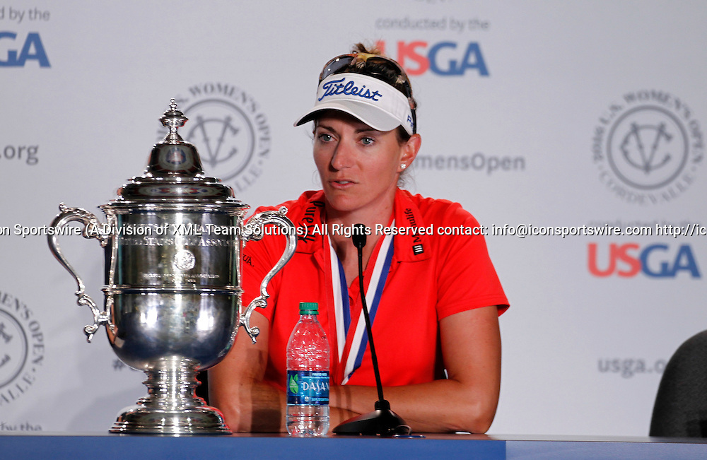 10 Jul 2016: Brittany Lang answers questions from the media after winning the LPGA-US Women's Open at CordeValle Golf Club in San Martin, CA. (Photo by Larry Placido/Icon Sportswire)