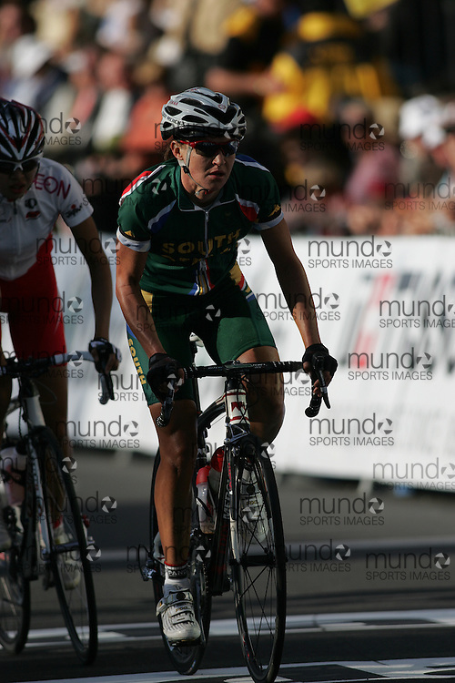(Geelong, Australia---2 October 2010) Marissa VAN DER MERWE Marissa of the Republic of South Africa rides to 42nd place in the Elite Women's Road Race at the 2010 UCI World Championships.  [2010 Copyright Sean Burges / Mundo Sport Images -- www.mundosportimages.com].