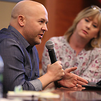 Blue Delta Jeans CEO and Founder Josh West discusses his business model and how he leads his company during a panel discussion about leadership with the Tupelo Young Professionals group at the Community Development Foundation on Thursday.