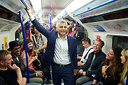 Sadia Khan at London's Night Tube launch at Brixton tube station, London, Great Britain <br /> 19th August 2016 <br /> <br /> Sadia Khan, mayor of London,  launched the first night tube service and travelled on a tube train between Brixton and Walthamstow on the Victoria Line. <br />  <br /> He launched the first 24 hour Friday and Saturday night services on the Central and Victoria lines <br /> <br /> Photograph by Elliott Franks <br /> Image licensed to Elliott Franks Photography Services