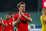 England defender Ben Chilwell thanks fans at full time during the UEFA European 2020 Qualifier match between Bulgaria and England at Stadion Vasil Levski, Sofia, Bulgaria on 14 October 2019.