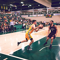 4th year guard, Samuel Hillis (2) of the Regina Cougars during the Men's Basketball Home Game on Fri Nov 30 at Centre for Kinesiology,Health and Sport. Credit: Arthur Ward/Arthur Images