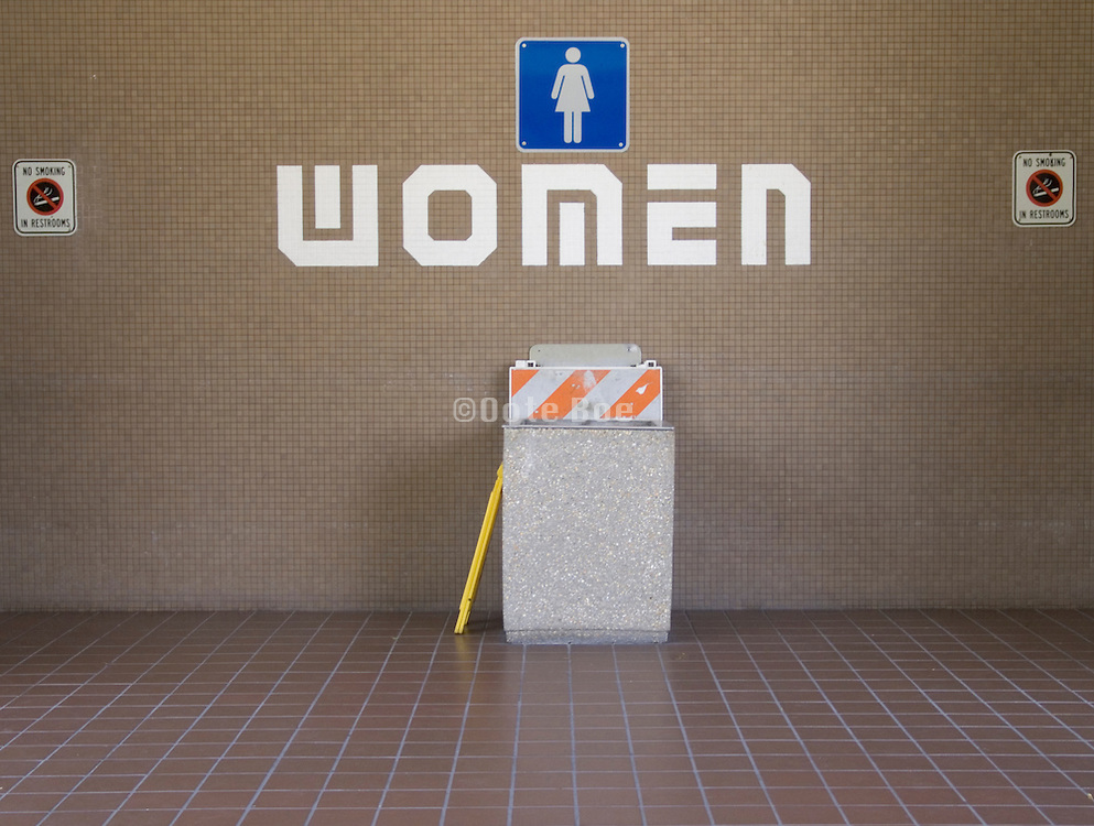 women?s toilet at a rest stop facility USA