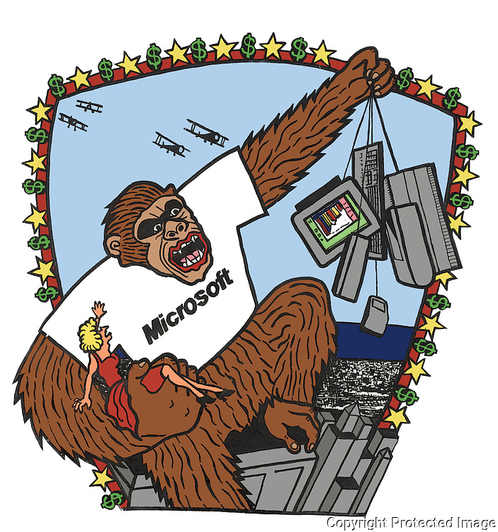 Parody of the King Kong film.  A giant gorilla is ascending the Empire State Building Fay Wray in one hand and computer equipment in the other.