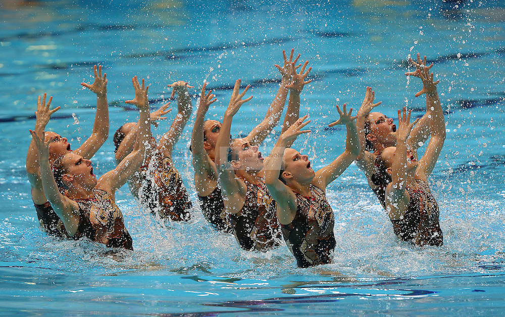 The team from Russia performs during team synchronized swimming free routine final during day 14 of the London Olympic Games in London, England, United Kingdom on August 10, 2012. Russia went on to win the gold medal..(Jed Jacobsohn/for The New York Times)..