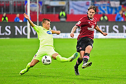 12.08.2016, Grundig Stadion, Nuernberg, GBR, 2. FBL, 1. FC Nuernberg vs 1. FC Heidenheim, 2. Runde, im Bild Dominik Widemann (1. FC Heidenheim / links) graetscht in einen Pass von Dave Bulthuis (1. FC Nuernberg / rechts). // during the 2nd German Bundesliga 2nd round match between 1. FC Nuernberg and 1. FC Heidenheim at the Grundig Stadion in Nuernberg, Germany on 2016/08/12. EXPA Pictures © 2016, PhotoCredit: EXPA/ Eibner-Pressefoto/ Merz<br /> <br /> *****ATTENTION - OUT of GER*****