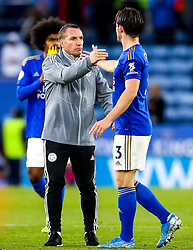 Leicester City manager Brendan Rogers celebrates victory over Newcastle United with Ben Chilwell of Leicester City - Mandatory by-line: Robbie Stephenson/JMP - 29/09/2019 - FOOTBALL - King Power Stadium - Leicester, England - Leicester City v Newcastle United - Premier League