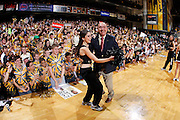 NASHVILLE, TN - FEBRUARY 11: ESPN television analyst Dick Vitale dances with Vanderbilt Commodores cheerleader before the game against the Kentucky Wildcats at Memorial Gymnasium on February 11, 2012 in Nashville, Tennessee. Kentucky won 69-63. (Photo by Joe Robbins/Getty Images) *** Local Caption *** Dick Vitale