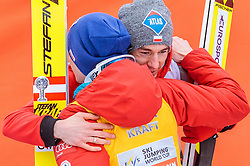 26.03.2017, Planica, Ratece, SLO, FIS Weltcup Ski Sprung, Planica, Siegerehrung, im Bild Gesamtweltcup- und Skiflug Weltcup Sieger Stefan Kraft (AUT), Kamil Stoch (POL, 2. Platz) // Overall World Cup and Ski Flying World Cup winner Stefan Kraft of Austria 2nd placed Kamil Stoch of Poland during the Winner Award Ceremony of the FIS Ski Jumping World Cup Final 2017 at Planica in Ratece, Slovenia on 2017/03/26. EXPA Pictures © 2017, PhotoCredit: EXPA/ JFK