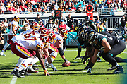 Dec 16, 2018; Jacksonville, FL, USA; A general view of the line of scrimmage during an NFL game between the Jacksonville Jaguars and the Washington Redskins at TIAA Bank Field. The Redskins beat the Jaguars 16-13. (Steve Jacobson/Image of Sport)