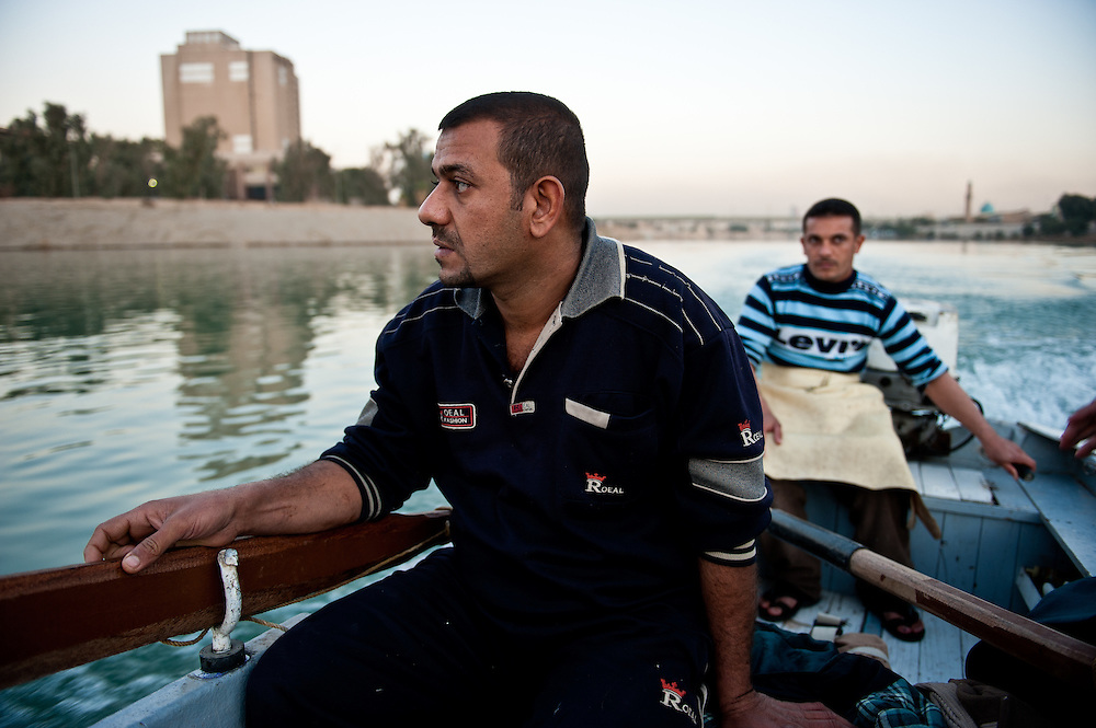 Fishermen on the Tigris River in Baghdad's Karkh District.
