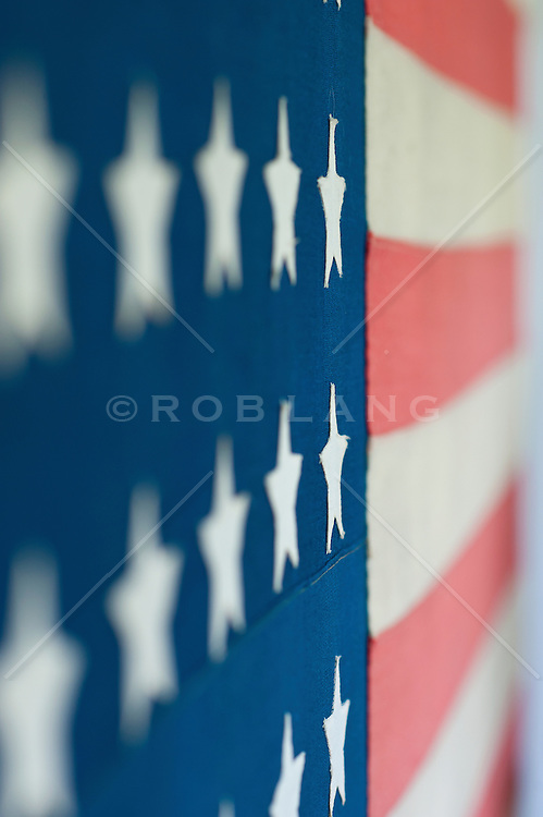 Close up looking down alone an American flag