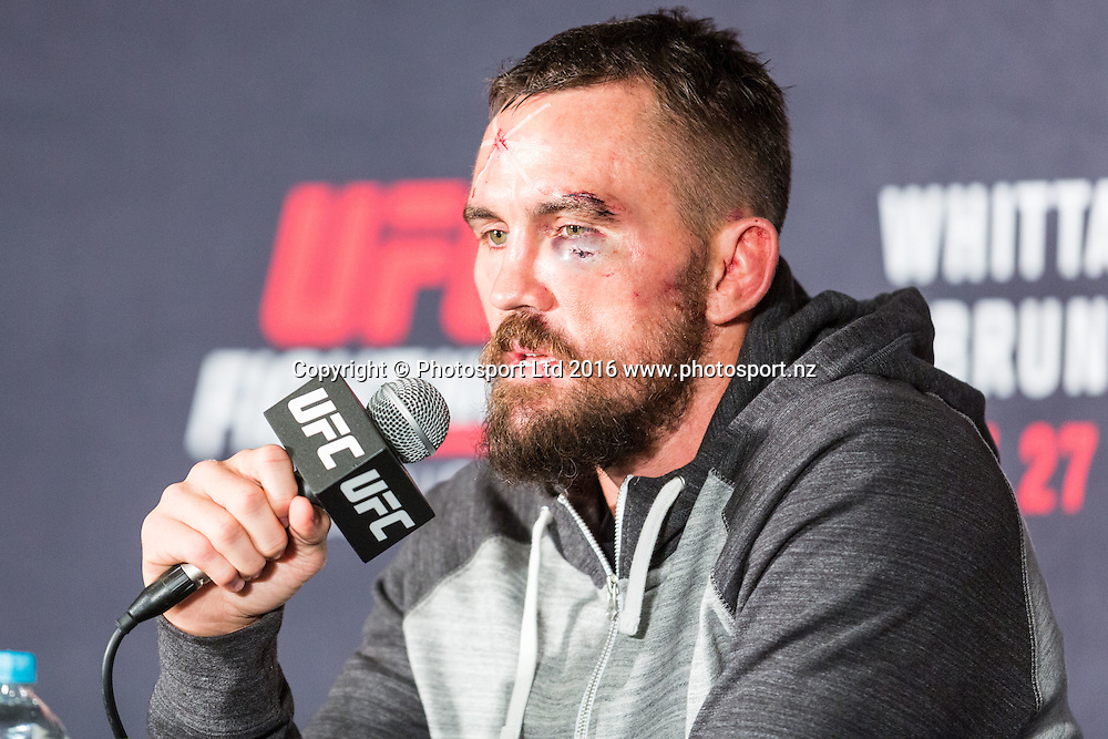 Kyle Noke announces his retirement in the post match Press conference after losing to Omari Akhmedov during UFC Fight Night at Rod Laver Arena Melbourne Australia. Sunday 27th November 2016. Copyright Photo. Brendon Ratnayake / www.photosport.nz