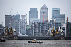 © Licensed to London News Pictures. 03/01/2018. London, UK. The Thames Barrier has been closed to protect London from flooding due to high tides and Storm Eleanor. It is the 180th time that the barrier has been required to close to protect London from flooding threat. Photo credit : Rob Powell/LNP