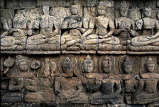 IND001-stone carvings-images of buddha at Borobudor in Java, Indonesia-religion, buddhism, asia