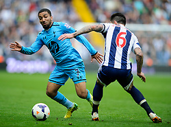 Aaron Lennon (ENG) of Tottenham Hotspur is challenged by Liam Ridgewell (ENG) of West Brom - Photo mandatory by-line: Rogan Thomson/JMP - 07966 386802 - 12/04/2014 - SPORT - FOOTBALL - The Hawthorns Stadium - West Bromwich Albion v Tottenham Hotspur - Barclays Premier League.