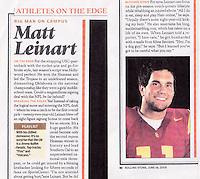 2005:  Article about Matt Lienart of USC Trojans NCAA College Football in Rolling Stone Magazine.