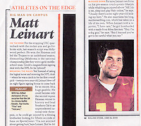 2005:  Article about Matt Lienart of USC Trojans NCAA College Football in Rolling Stone Magazine.