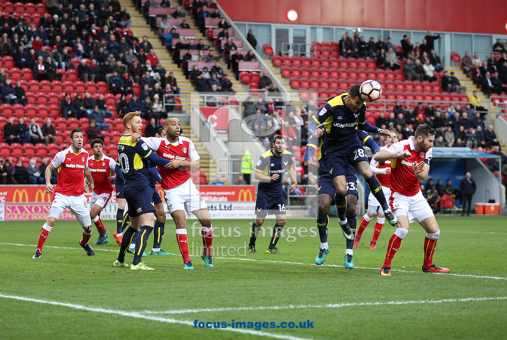 Marvin Johnson of Oxford United heading the ball during the third round of the FA Cup at the New York Stadium, Rotherham<br /> Picture by James Wilson/Focus Images Ltd 07709 548263<br /> 07/01/2017