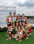 Poznan, POLAND, CAN W8+, with their Silver medals after securing Olympic selection for the 2008 Beijing Olympics by winning the silver medal the  women's eight  at the 2008 Olympic Qualification  Rowing Regatta. Malta Rowing Course on Wednesday, 18/06/2008. [Mandatory Credit:  Peter SPURRIER / Intersport Images] . Rowing Course:Malta Rowing Course, Poznan, POLAND
