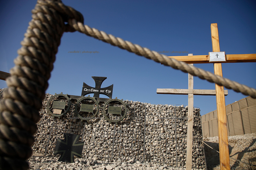 A memorial for fallen comrades at german OP North, Northern Afghanistan