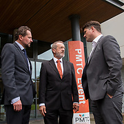31.08. 2017.                                   <br /> Leaders in the pharmaceutical manufacturing sector in Ireland gathered at University of Limerick today for the third annual Pharmaceutical Manufacturing Technology Centre (PMTC) Knowledge Day.<br /> <br /> Pictured at the event were, Prof Gavin Walker, Bernal Chair in Pharmaceutical Powder Engineering, UL, Sean Kelly MEP and Chris Edlin, PMTC Director.<br /> <br /> The event provided a showcase for the cutting-edge research supported by the centre with key note addresses from industry thought leaders who shared their vision of the future for the pharmaceutical sector. Picture: Alan Place