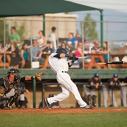 Blake Allemand hits a broken bat RBI single in the bottom of the 2nd inning against the Missoula Osprey, Thursday night at Kindrick Legion Field.