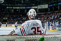 KELOWNA, CANADA - SEPTEMBER 24: Carter Phair #35 of the Kamloops Blazers stands in net against the Kelowna Rockets on September 24, 2016 at Prospera Place in Kelowna, British Columbia, Canada.  (Photo by Marissa Baecker/Shoot the Breeze)  *** Local Caption *** Carter Phair;