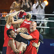 The Washington Kastles react after winning the 2009 World Team Tennis Championship.
