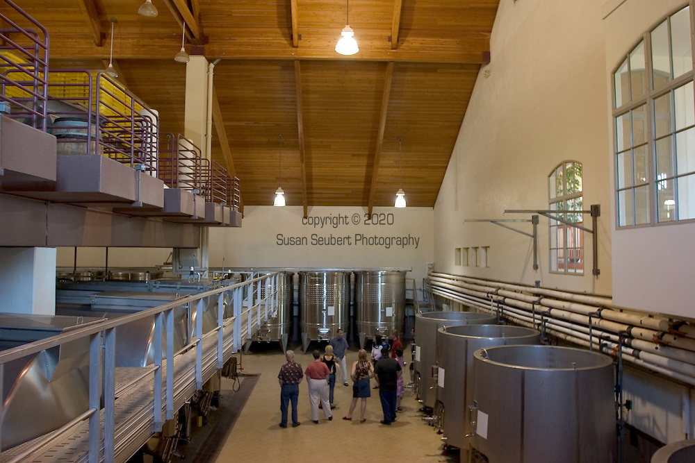 Arron Bell leads a tour of the wine making facilities at Domaine Drouhin in Dundee, OR..5/1/04
