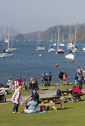 (c) Licenced to London News Pictures 10/04/2015. Fell Foot Park, Newby Bridge, Cumbria, England. Hottest day of the year so far in the Lake District. Pictures of people enjoying the sun on the banks of Windermere at Fell Foot Park, Cumbria. Photo credit : Harry Atkinson/LNP