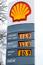 © Licensed to London News Pictures. 29/02/2011. Corley Services, M6, Coventry, West Midlands. Diesel prices have risen to £151.9 for a litre at Corley Services on the M6 near Coventry. Photo credit : Dave Warren/LNP