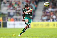 Freddie Burns of Leicester Tigers slots home a peanalty kick during the Aviva Premiership match at Welford Road, Leicester<br /> Picture by Andy Kearns/Focus Images Ltd 0781 864 4264<br /> 06/09/2014