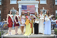 Miss Wantagh Pageant crowning ceremony, a long-time Independence Day tradition on Long Island, held Wednesday, July 4, 2012, in front of Wantagh School, New York, USA. Left to Right, Kara Arena Miss Wantagh 2011, Kelly Garland Miss Wantagh 2010, Eden Held Miss Wantagh 2009, Hailey Orgass Miss Wantagh 2012, and 1st RunnerUp Alysa Kelly, 2nd RunnerUp Paulina Renda, and 3rd RunnerUp Alyson Hopkins. Since 1956, the Miss Wantagh Pageant, which is not a beauty pageant, has crowned a high school student based mainly on academic excellence and community service.