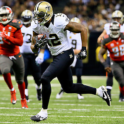 Sep 20, 2015; New Orleans, LA, USA;  New Orleans Saints wide receiver Marques Colston (12) runs after a catch against the Tampa Bay Buccaneers during the second quarter of a game at the Mercedes-Benz Superdome. Mandatory Credit: Derick E. Hingle-USA TODAY Sports