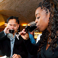 (PFEATURES) Atlantic City 10/23/2003  High Roller James Kwasnik alone with Cheldin Barlatt ( hotel PR) taste wine at the ______ Restaurant in the  Borgata Hotel and Casino.  Michael J. Treola Staff Photographer....MJT