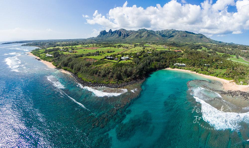 Aerial photograph of beautiful Papa'a Bay, Kauai, Hawaii