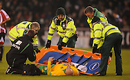Sheffield - Saturday January 9th, 2009: Antoine Sibierski of Norwich City is stretchered off the pitch during the Coca Cola Championship match at Bramall Lane, Sheffield. (Pic by Alex Broadway/Focus Images)