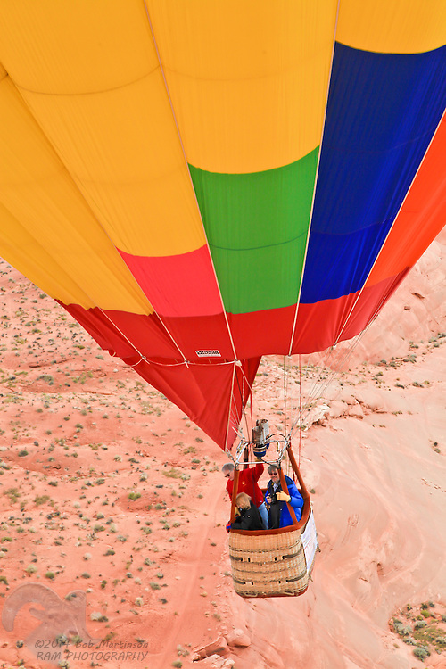 Participants in the 2011 Balloon Regatta in Page, Arizona, make a close encounter with the ground in an attempt to aviod other balloons and the ground. Over 60 balloons flew in the event.