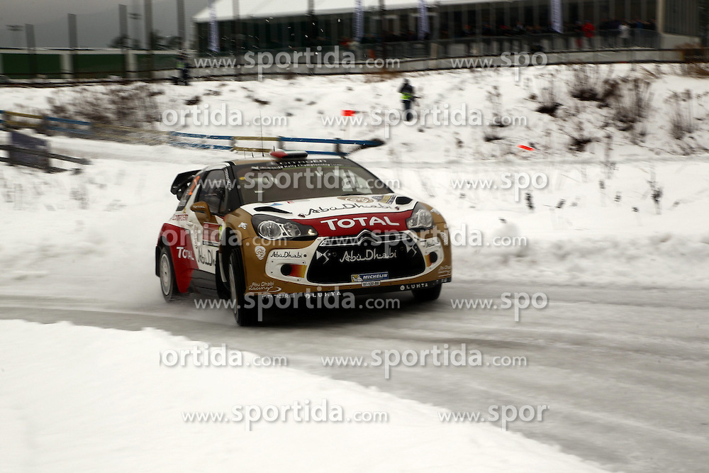 07.02.2014, Hagfors, Karlstad, SWE, FIA, WRC, Schweden Rallye, Tag 3, im Bild Khalid Al Qassimi/Chris Patterson (Citroen Total Abu Dhabi WRT/DS3 WRC), Action / Aktion // during Day 3 of the FIA WRC Sweden Rally at the Hagfors in Karlstad, Sweden on 2014/02/07. EXPA Pictures &copy; 2014, PhotoCredit: EXPA/ Eibner-Pressefoto/ Bermel<br /> <br /> *****ATTENTION - OUT of GER*****