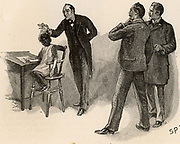 The Adventure of the Yellow Face'. Holmes reveals to Jack Grant Munro and to Dr Watson, right, the reason for the suspicious behaviour of Munro's wife - that her first, dead, husband was black and that she is keeping his child with a nurse at a nearby cottage. From 'The Adventures of Sherlock Holmes' by Conan Doyle from 'The Strand Magazine' (London, 1893). Illustration by Sidney E Paget, the first artist to draw Sherlock Holmes.  Engraving.