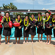 22 April 2017: The San Diego State women's waterpolo team closes out the regular season with their Annual Harper Cup match against UCSD. <br /> www.sdsuaztecphotos.com
