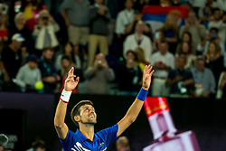January 27, 2019 - Melbourne, VIC, U.S. - MELBOURNE, AUSTRALIA - JANUARY 27 : Novak Djokovic of ÊSerbia celebrates after winning the final on day 14 of the Australian Open on January 27 2019, at Melbourne Park in Melbourne, Australia.(Photo by Jason Heidrich/Icon Sportswire) (Credit Image: © Jason Heidrich/Icon SMI via ZUMA Press)