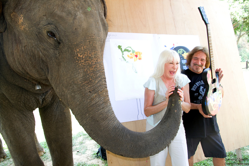 "Jaab, an elephant at the Elephant Life Experience (ELE) north of Chiang Mai celebrates during a press conference with Wendy Dio, center, former wife of legendary Black Sabbath  guitarist Ronny Dio and former Black Sabbath bassist and lyricist Terry ""Geezer"" Butler after painting a guitar at the camp as part of a joint effort to raise funds for cancer research and elephant conservation. The elephants at the camp will paint guitars by famous musicians, which will then be sold at a New York auction house. Ronny Dio died last year from stomach cancer and so his widow Wendy is raising money in an appeal called the ""Stand Up and Shout Cancer Fund."""