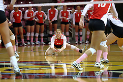 29 October 2011: Shannon McGlaughlin awaits a dig attempt During a match between the Creighton Bluejays and the Illinois State Redbirds at Redbird Arena in Normal Illinois