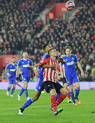 Ipswich Town's Tyrone Mings and Southampton's Morgan Schneiderlin compete for a high ball - Photo mandatory by-line: Paul Knight/JMP - Mobile: 07966 386802 - 04/01/2015 - SPORT - Football - Southampton - St Mary's Stadium - Southampton v Ipswich Town - FA Cup Third Round
