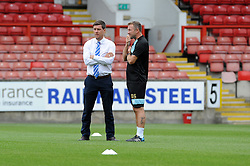 Bristol Rovers Manager Darrell Clarke with Bristol Rovers assistant manager, Marcus Stewart - Mandatory byline: Neil Brookman/JMP - 07966386802 - 29/08/2015 - FOOTBALL - Matchroom Stadium -Leyton,England - Leyton Orient v Bristol Rovers - Sky Bet League Two