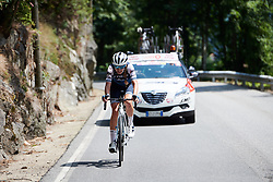 Tayler Wiles (USA) in a late solo attack at Stage 3 of 2019 Giro Rosa Iccrea, a 104.7 km road race from Sagliano Micca to Piedicavallo, Italy on July 7, 2019. Photo by Sean Robinson/velofocus.com