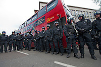 Riot police block the road at Reclaim Brixton event in Brixton sOuth London.