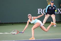 March 9, 2019 - Indian Wells, CA, U.S. - INDIAN WELLS, CA - MARCH 09: Danielle Collins (USA) stretches for a forehand during the BNP Paribas Open on March 9, 2019 at Indian Wells Tennis Garden in Indian Wells, CA. (Photo by George Walker/Icon Sportswire) (Credit Image: © George Walker/Icon SMI via ZUMA Press)